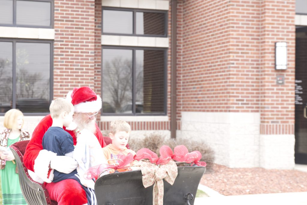 Santa at Peoples Trust Bank in Waukee Iowa